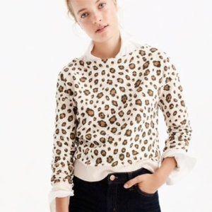 J. Crew Leopard Print Sweatshirt Cream Brown Sz XS